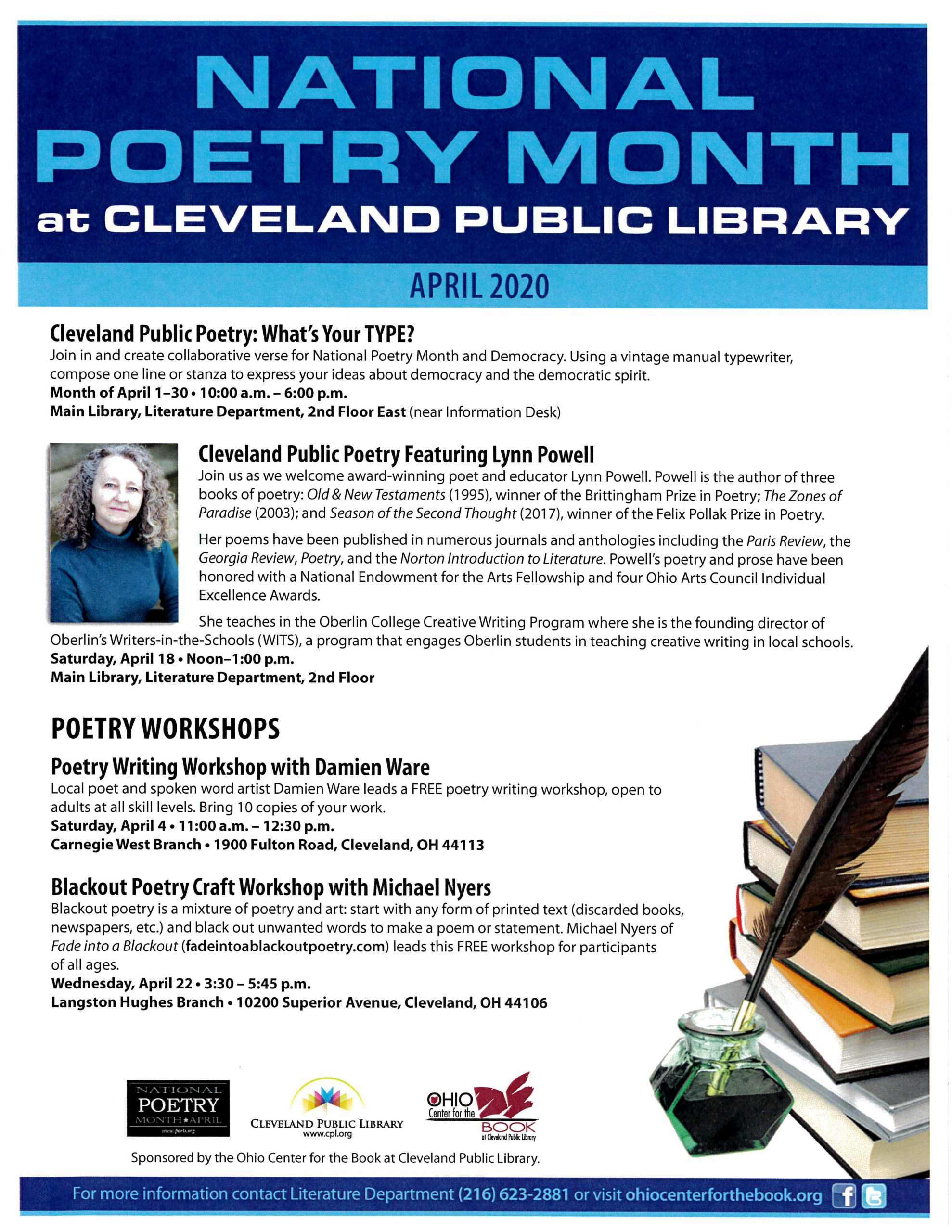 National Poetry Month 2020 at Cleveland Public Library - Blackout Poetry Workshop with Michael Nyers of Fade into a Blackout